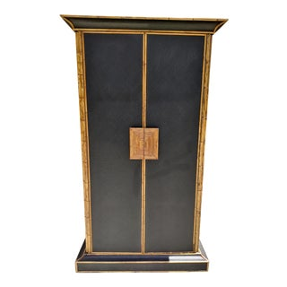 British Colonial Grass Cloth, Pencil Reed Rattan and Solid Wood Wardrobe For Sale
