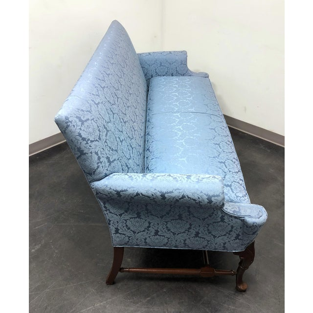 Hickory Chair Furniture Company Hickory Chair Queen Anne Sofa Settee in Blue Brocade For Sale - Image 4 of 13