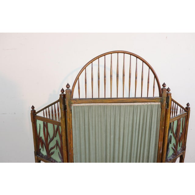 1910s 20th Century French Art Nouveau in Wood Colored Glass and Fabric Screen For Sale - Image 5 of 11