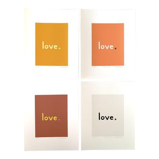 """""""Golden"""" Contemporary Fine Art Giclee Love Prints by Neicy Frey - Set of 4 For Sale"""