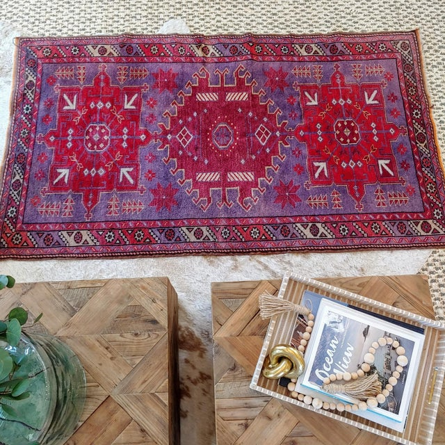 Traditional Mid Century Pink and Purple Heriz Rug For Sale - Image 3 of 13