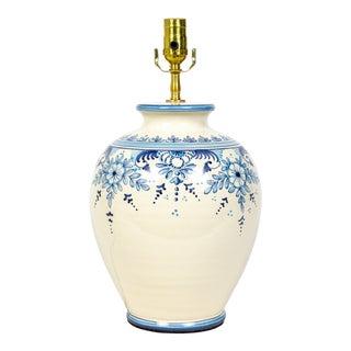 Large Italian Blue and White Floral Ceramic Ginger Jar Lamp