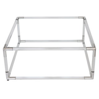 Lucite and Aluminium Square Coffee Table With Glass Top For Sale