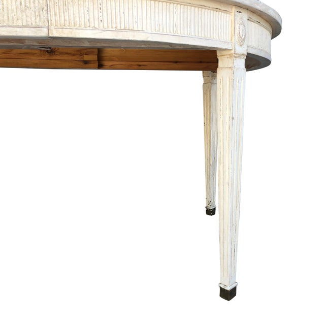 White 19th Century Gustavian Extension Dining Table For Sale - Image 8 of 9