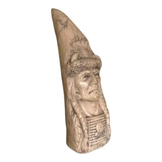 Carved Faux Whale Tooth Native American Elder Carving For Sale