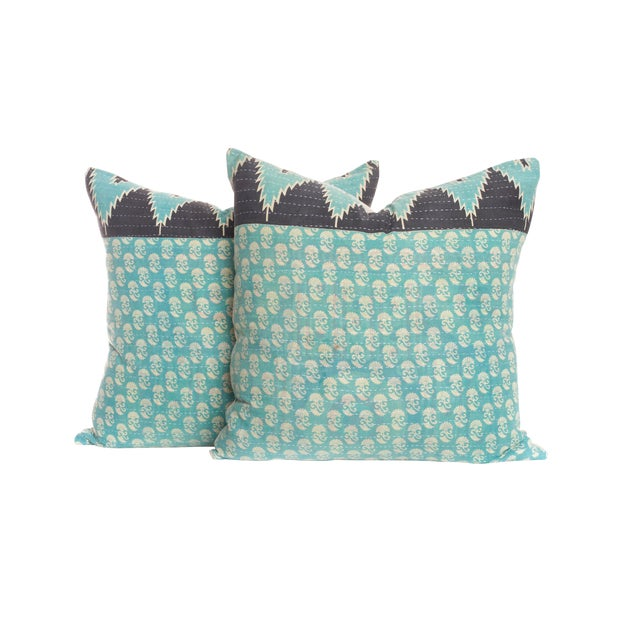 Vintage Kantha Pillows - A Pair For Sale