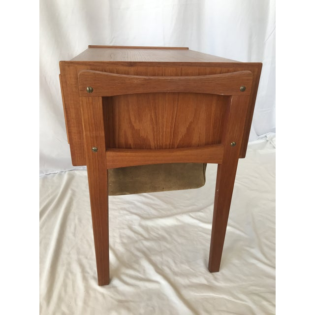 Brown Vintage Danish Sewing Side Table For Sale - Image 8 of 13