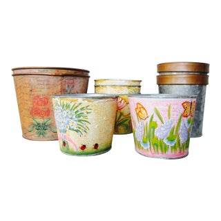 Boho Chic Metal Floral Planter Pots - Set of 9