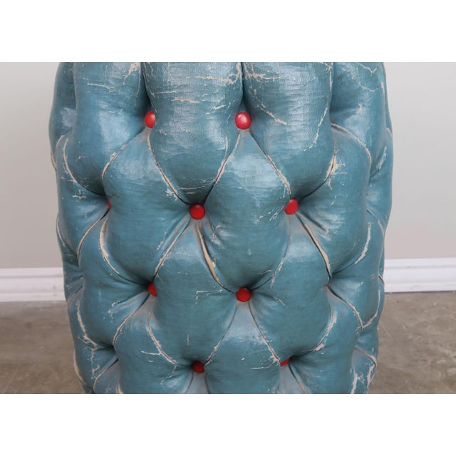 1960s Blue Tufted Stool/Container W/ Red Tufts For Sale - Image 5 of 8