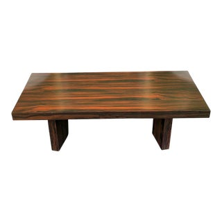 1990s Mid-Century Modern Macassar Exotic Ebony Coffee Table For Sale