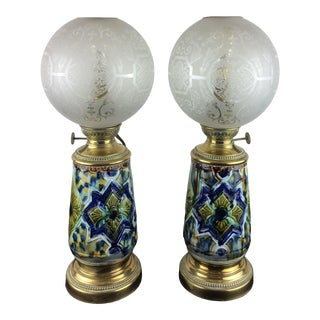 French Faience Electrified Table Lamps - a Pair For Sale