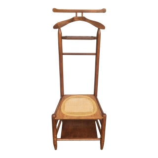 Antique Cane Seated Valet Chair