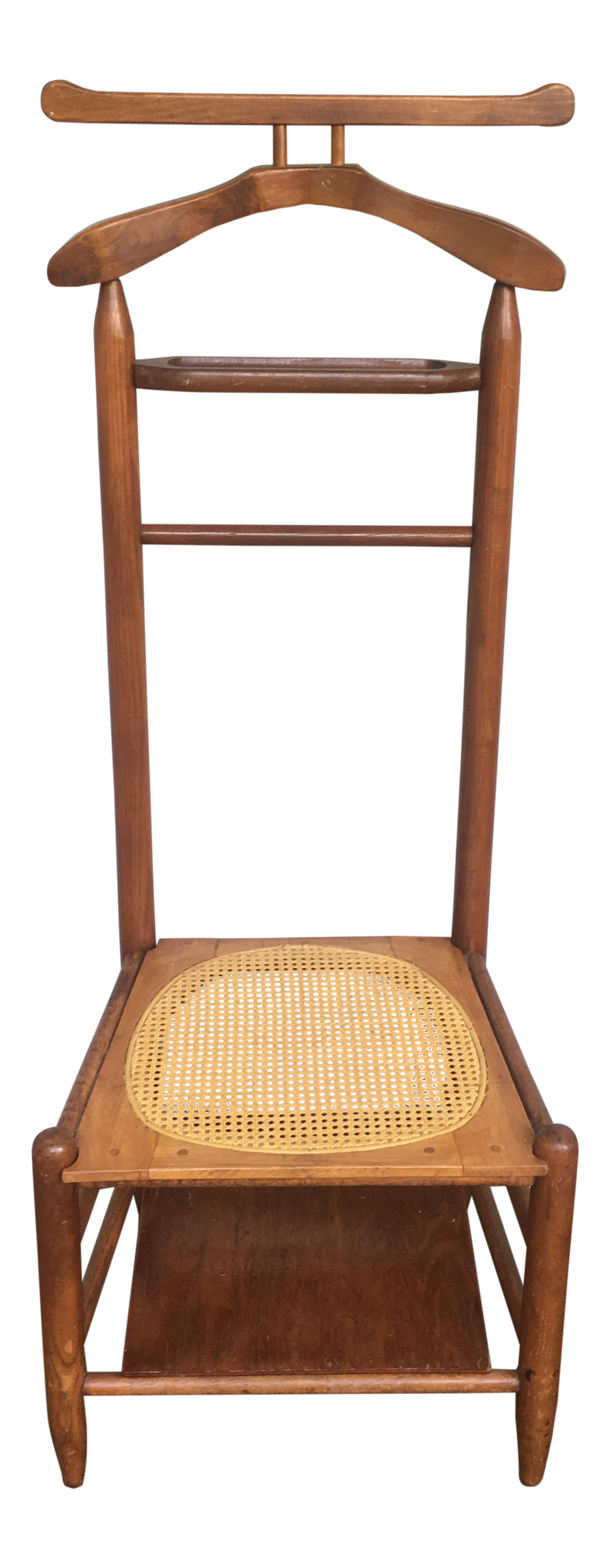 Antique Cane Seated Valet Chair For Sale