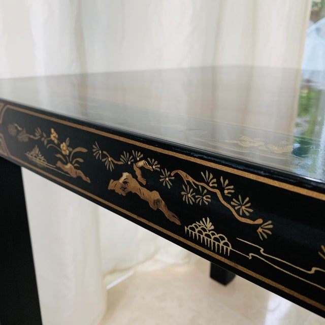 1980s Vintage Drexel Heritage Et Cetera Chinoiserie Lacquer End Side Squared Table For Sale - Image 5 of 13