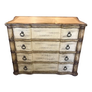 Baers Antique White Crackle Paint Four Drawer Chest