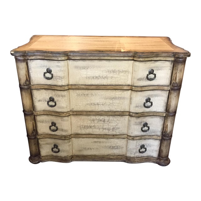 Baers Antique White Crackle Paint Four Drawer Chest For Sale