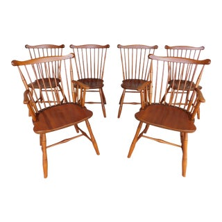 L & J G Stickley Cherry Valley Windsor Fan Back Style Chairs - Set of 6 For Sale