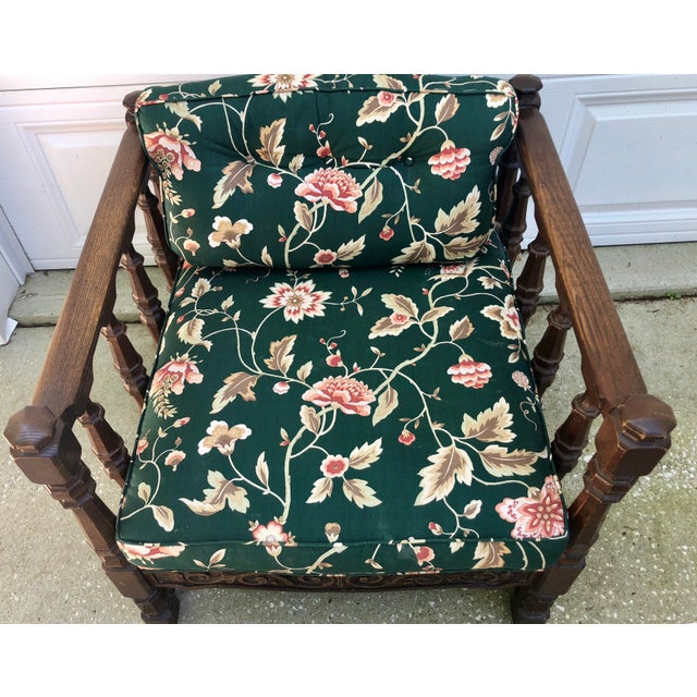 Mid 20th Century Mid-Century Floral Upholstered Wooden Cube Chair For Sale - Image 5 of 12