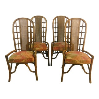 Henry Olko , Willow and reedDining Chairs, Set of 4 For Sale