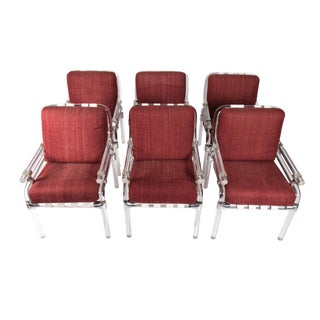 Jeff Messerschmidt Pipeline Red Upholstered Lucite Chairs - Set of 6 For Sale