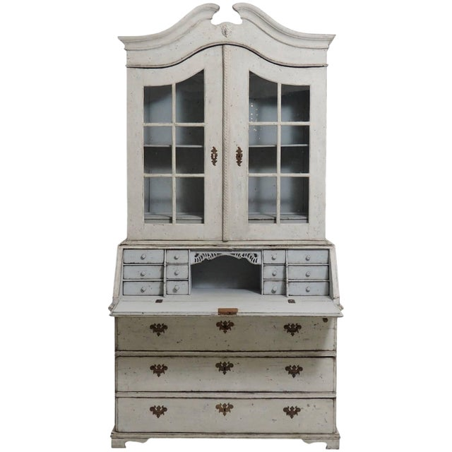 18th Century Swedish Baroque Two-Door Glass Cabinet For Sale