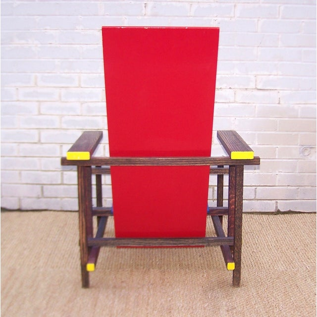 Gerrit Rietveld Gerrit Rietveld Style Red & Blue Chair For Sale - Image 4 of 11