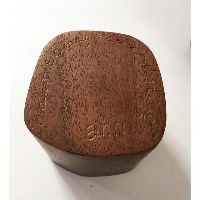Artisan Walnut Ebony and Zebra Wooden Covered Box - Image 5 of 8