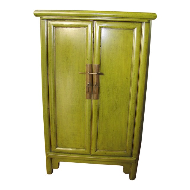 Chinese Style Limegreen Lacquer Bedside Chest For Sale
