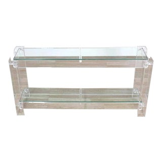 Vintage Mid Century Three-Tier Long Lucite Console Table For Sale