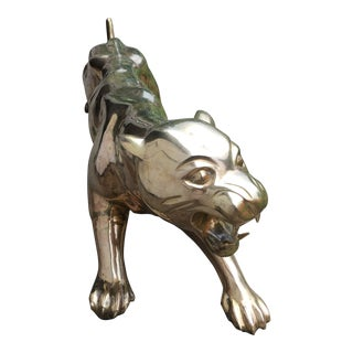 Life-Sized Solid Brass Asian Jungle Cat Sculpture For Sale