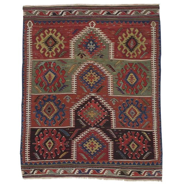 Kilim with Ascending Arches For Sale