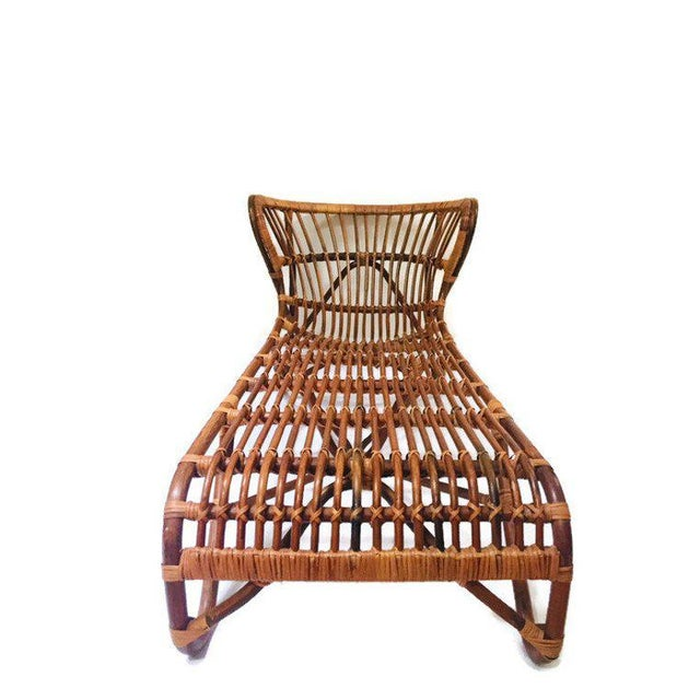 Mid Century Modern Bamboo Chaise Lounge, Franco Albini Chaise Lounge Chair. Bamboo Day Bed, Bent Bamboo Lounge Chair with...
