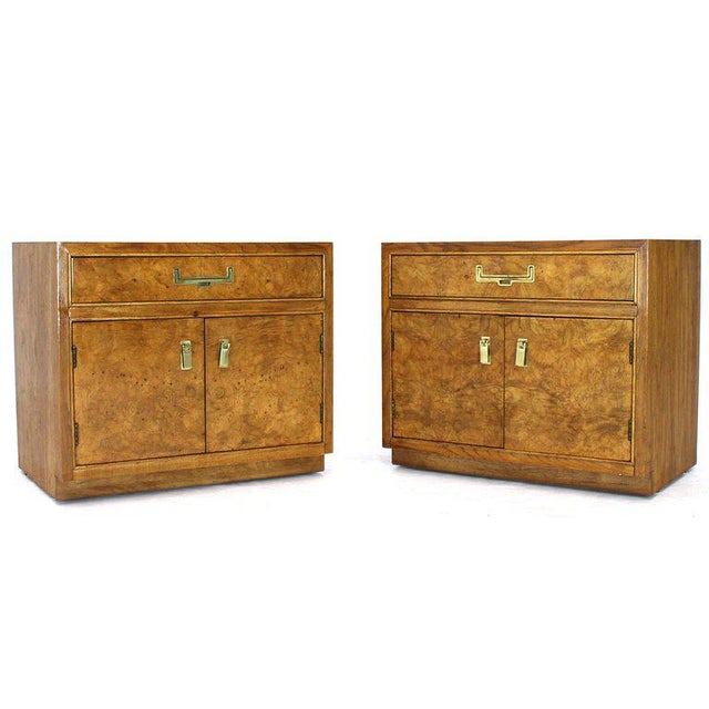 Light Burl Wood Campaign Nightstands Bed Tables Brass Hardware - A Pair For Sale - Image 13 of 13