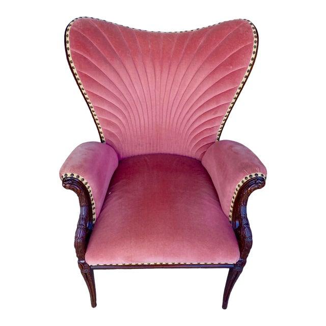 Vintage Pink Velvet High Back Chair For Sale