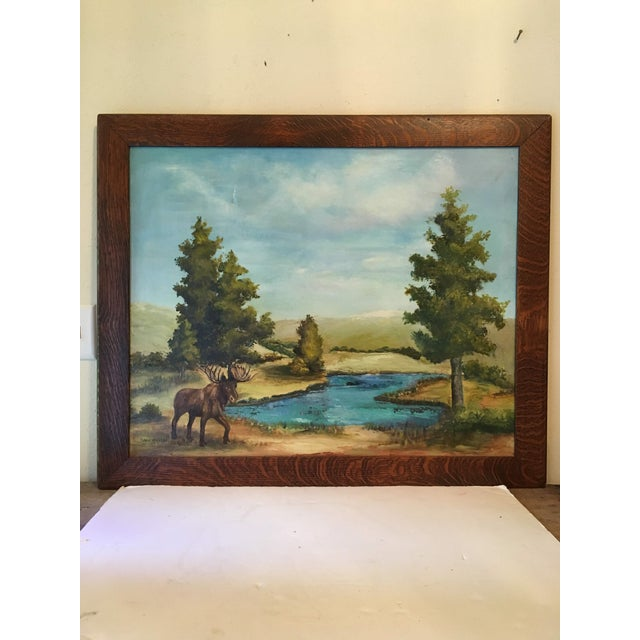 Canvas Oil on Canvas of a Moose on a Sky Blue Lake For Sale - Image 7 of 7