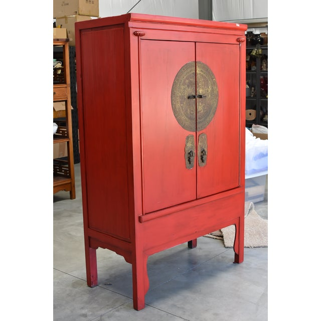 Asian Chinese Red Wedding Cabinet For Sale - Image 3 of 13