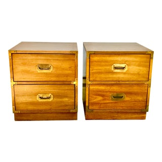 Bernhardt Mid-Century Campaign Style Nightstands - A Pair