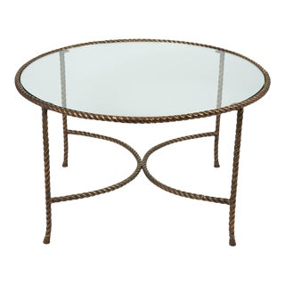 Italian Round Solid Bronze 'Rope & Tassle' Cocktail Table For Sale
