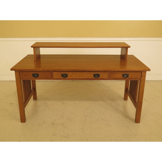 1990s Vintage Stickley Mission Oak Executive Desk For Sale - Image 13 of 13