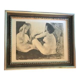 """Large """" Deux Femmes Double Flute """" Picasso Print / Lithograph Art Painting"""