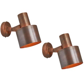 1960s Paavo Tynell for Idman Oy Copper Wall Lamps - a Pair For Sale
