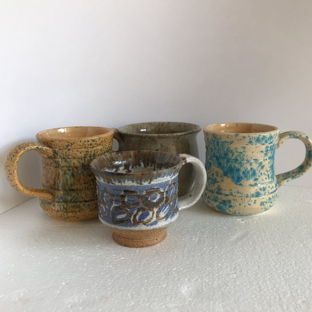 Vintage Boho Handmade Pottery Cups - Set of 4 For Sale - Image 9 of 10