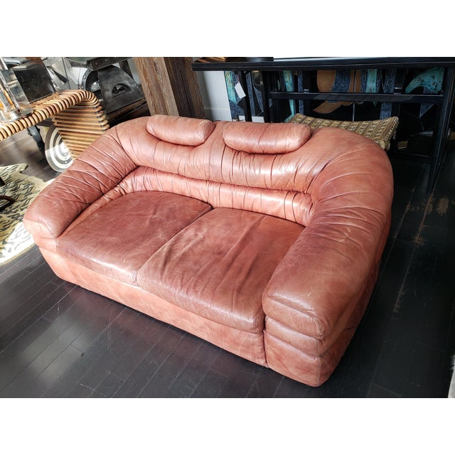 1960s Italian Zanotta Two-Seater Leather Sofa For Sale - Image 9 of 9