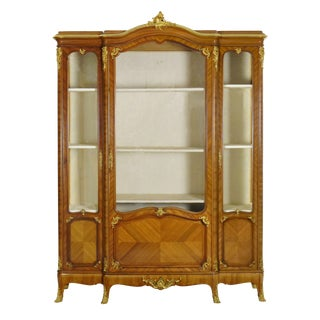 French Louis XV Style Antique Bookcase Cabinet Bookshelf by Schmit & Cie C. 1890-1910 For Sale