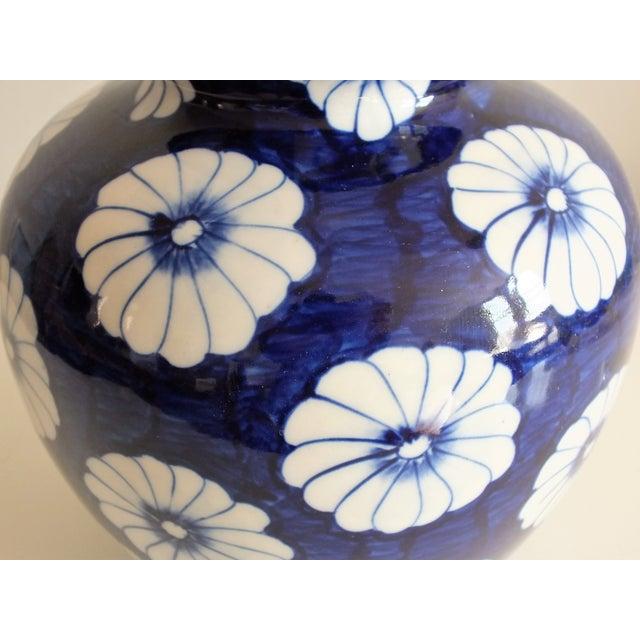 Stylized Floral Blue & White Bulbous Ceramic Vase - Image 6 of 7