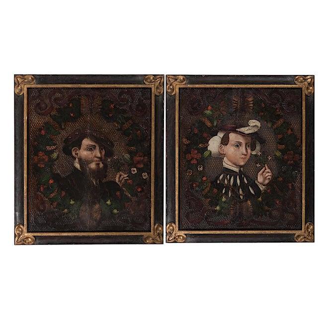 Antique Oil Wedding Portraits - a Pair - Image 1 of 6