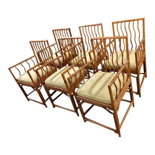21st Century Palacek PierceMartin Bamboo Arm Chairs- Set of 6 For Sale