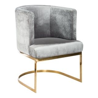 Circular Gray Velvet & Gold Dining Accent Chair For Sale