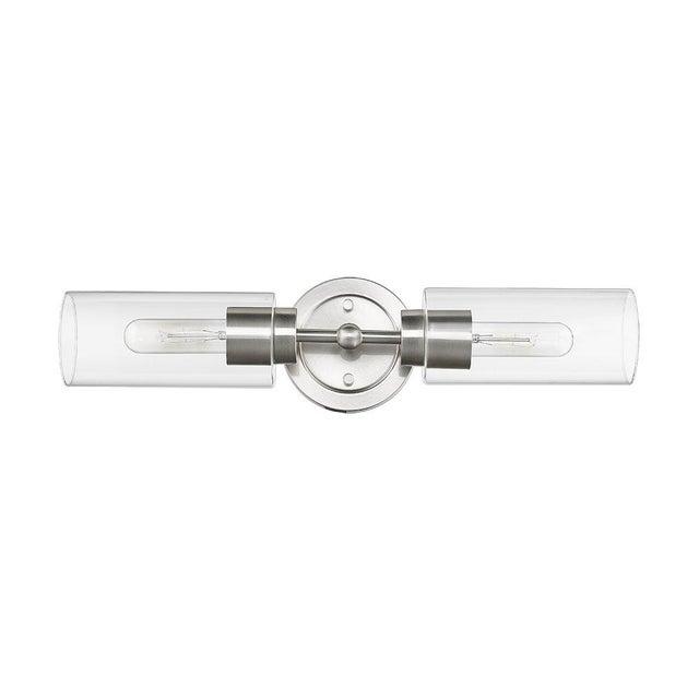 Industrial Brooklyn 2 Light Sconce Vanity in Satin Nickel For Sale - Image 3 of 3