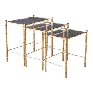 1970s Vintage Hollywood Regency Style Brass Nesting Tables-Set Of 3 For Sale